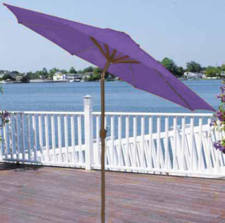 9' Outdoor Patio Market Umbrella with Hand Crank and Tilt - Purple and Brown