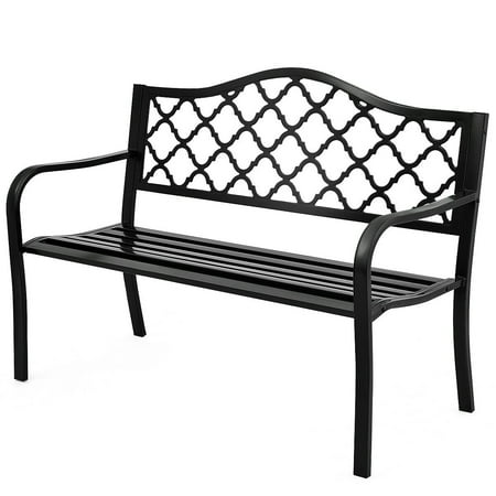 Costway 50'' Patio Garden Bench Loveseats Park Yard Furniture Decor Cast Iron Frame Black (Bench Garden Decor)