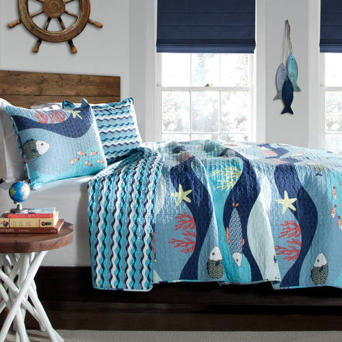 Sea Life Quilt Set, Blue