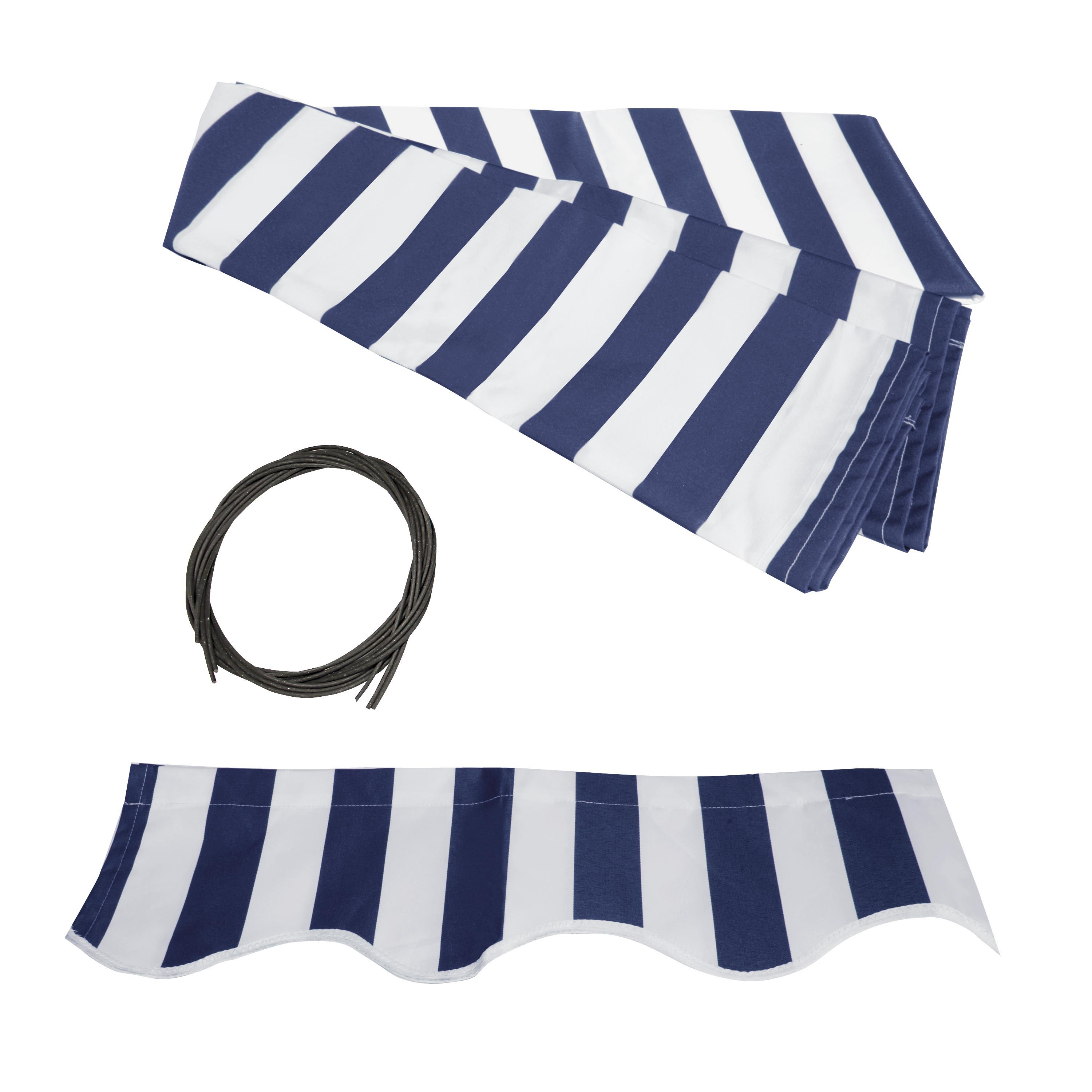 ALEKO Retractable Awning Fabric Replacement - 13x10 Feet - Blue and White Striped