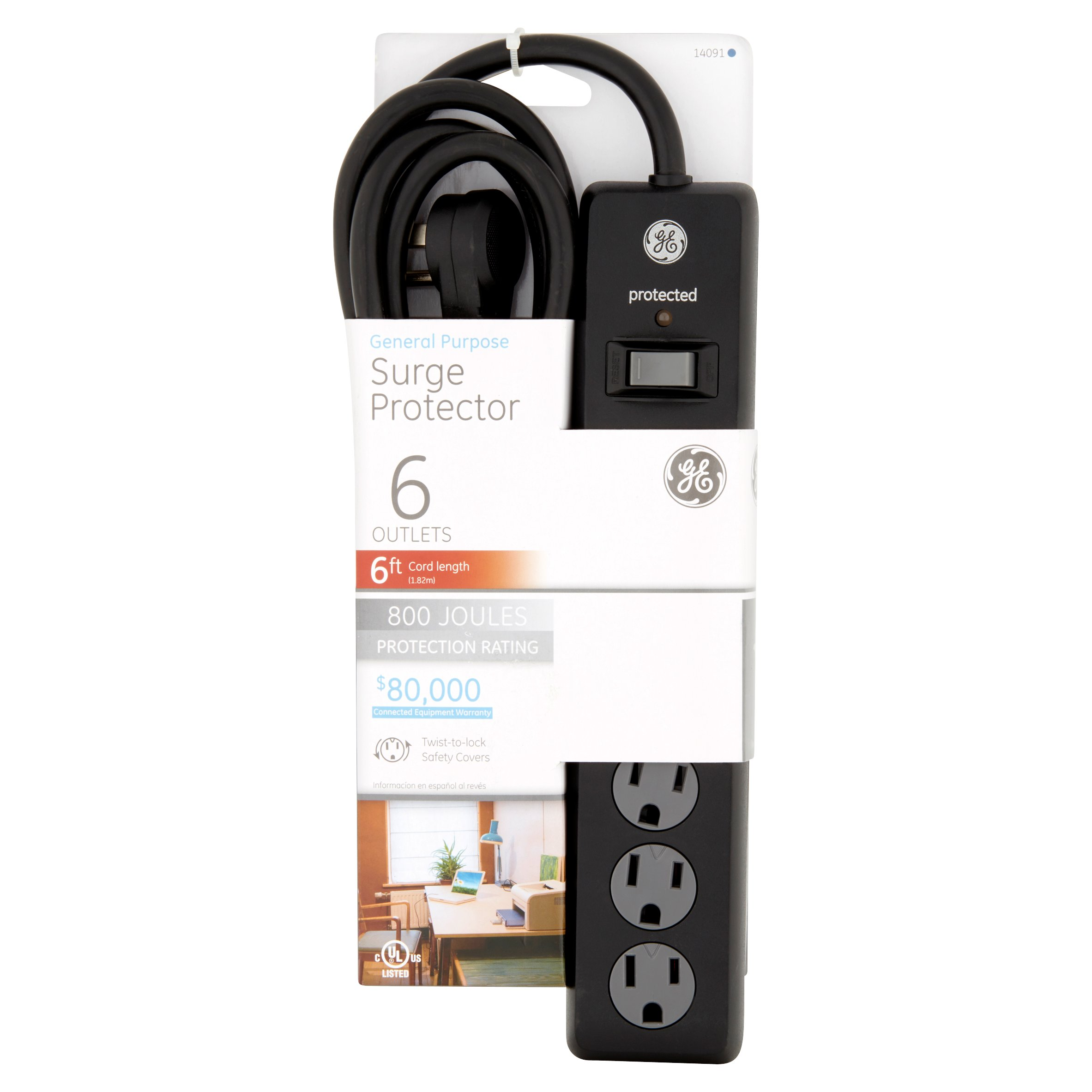 GE General Purpose Surge Protector 6 Outlets, 6 ft