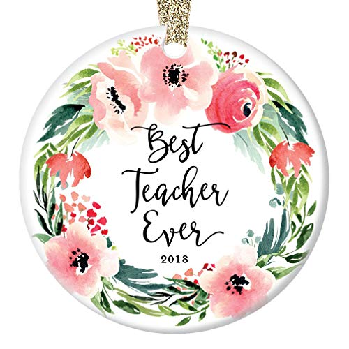 "Best Teacher Ever Christmas Ornament 2019, Favorite Elementary High School Teachers Gift for College University Pre-School Ceramic 3"" Flat Circle Porcelain with Gold Ribbon & Free Gift Box 