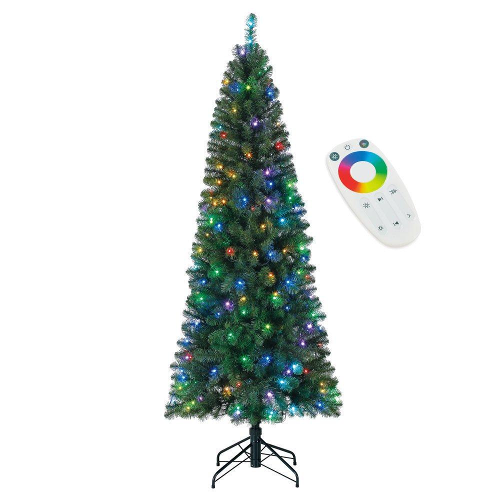 Home Heritage 7' Color Blast Multi-Light Function Micro Dot LED Christmas Tree