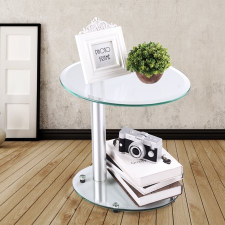 Rfiver Oval Clear 2-Tier Coffee Table Small Side Table End Table for Bedroom and Living Room