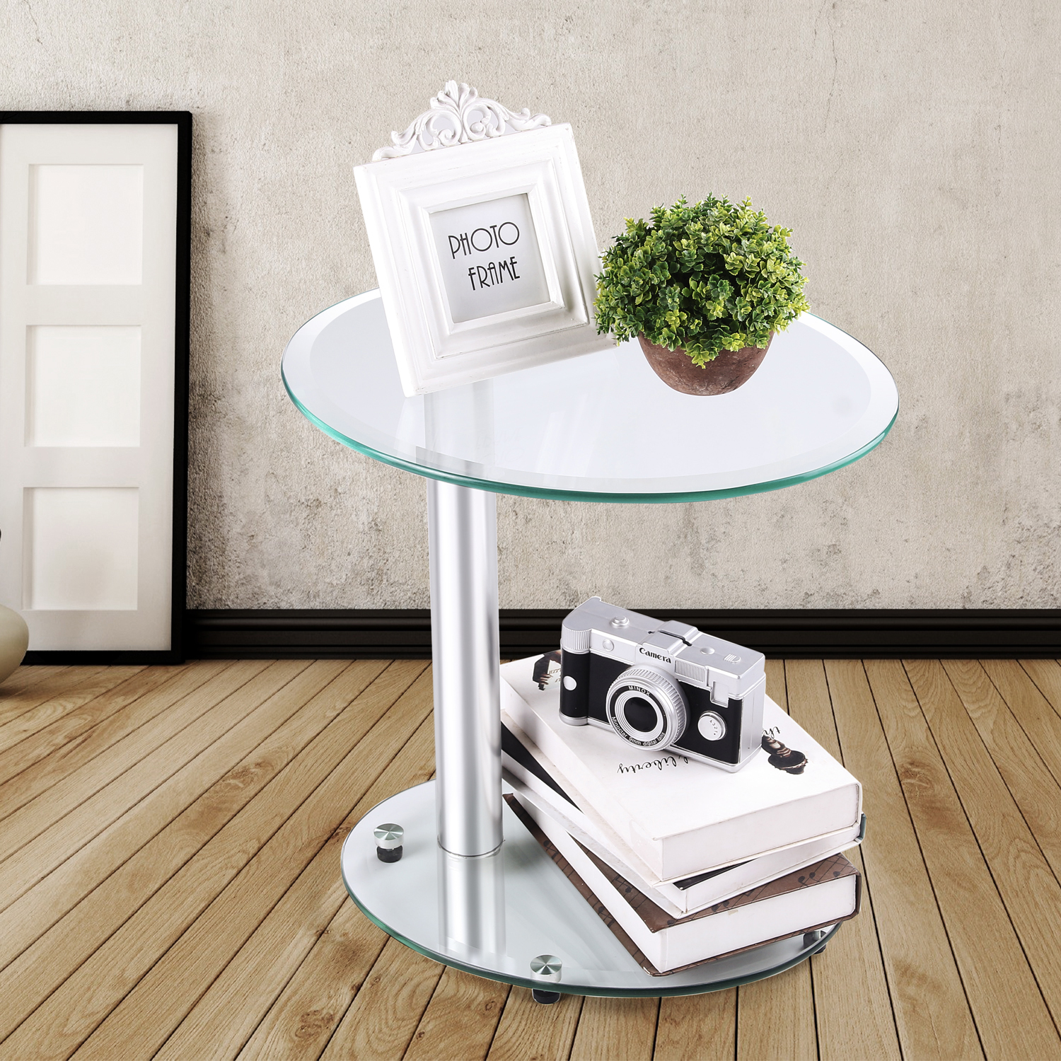 Rfiver Oval Coffee Table Small Side Table End Table, Save Space Corner Table for Bedroom&Living Room, Clear Tempered Glass ET3001