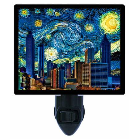 Night Light, Photo Night Light, Atlanta Starry Night, Van Gogh, Skyline plus FREE Switchable