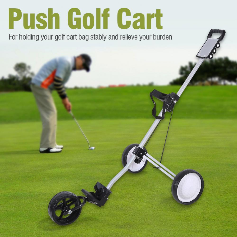 Vbestlife Durable Foldable 3 Wheel Golf Push Cart Trolley With