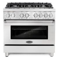 Cosmo Commercial-Style 36 in. 4.5 cu. ft. Single Oven Dual Fuel Range with 6 Italian Burners and 4 Function Electric Oven
