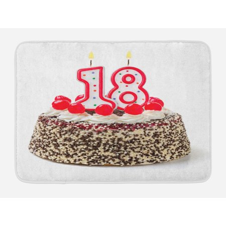 18th Birthday Bath Mat, Sweet Eighteen Party Cake with Candles and Cherries Sprinkle Vibrant Photo, Non-Slip Plush Mat Bathroom Kitchen Laundry Room Decor, 29.5 X 17.5 Inches, Multicolor, Ambesonne