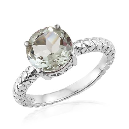 Stainless Steel Round Green Amethyst Solitaire Ring Cttw 2.7 - Glow In The Dark Engagement Ring