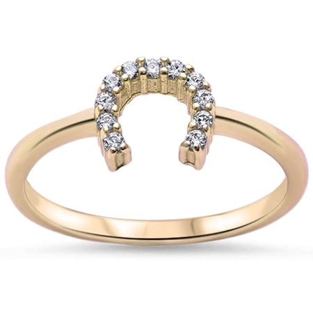 DTLA Sterling Silver Lucky Horseshoe Cubic Zirconia Ring - Yellow Gold Plated - 10