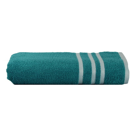 Mainstays Basic Bath Collection - Single Bath Towel, Turquoise Stripe