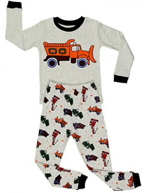 "Elowel Little Boys""Bulldozer"" 2 Piece Pajama Set 100% Cotton (Size2Y-8Y)"