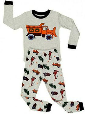 """Elowel Little Boys""""Bulldozer"""" 2 Piece Pajama Set 100% Cotton (Size2Y-8Y)"""