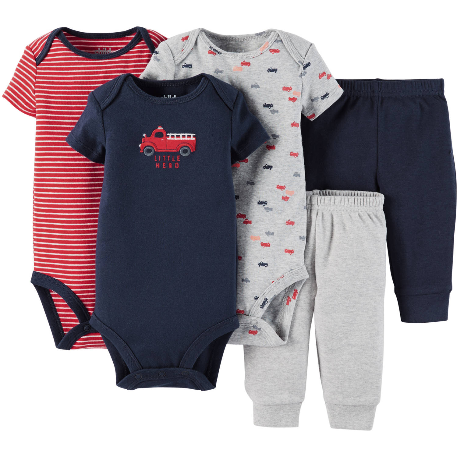 Child Of Mine By Carter's Newborn Baby Boy Bodysuit & Pant, 5 Pc Set