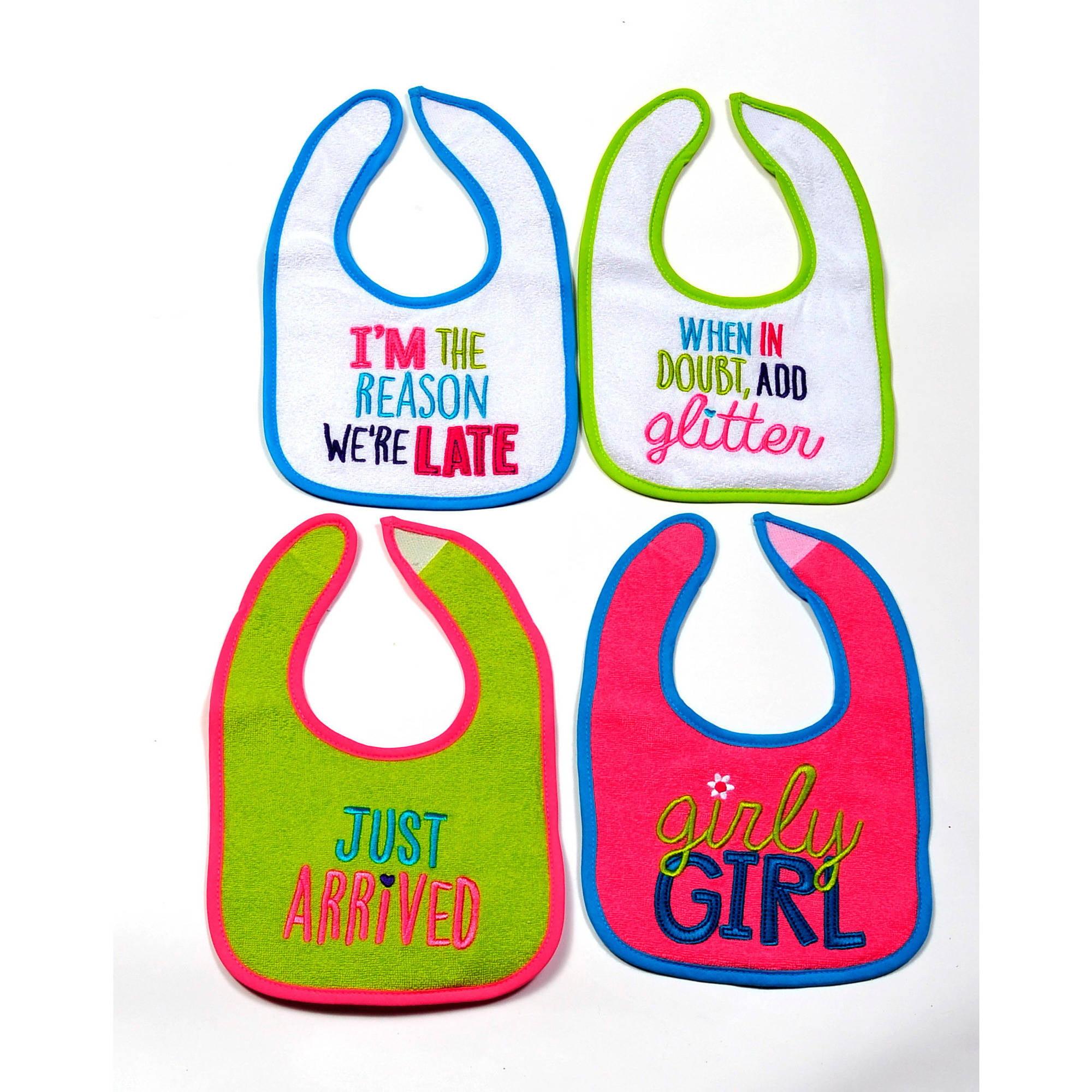 Parent's Choice Girls' Baby Bib, Attitude, 4-Pack