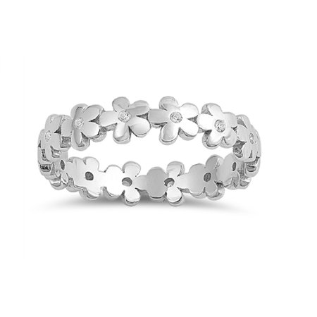 Clear Cubic Zirconia Eternity Flower Band Ring Sterling Silver