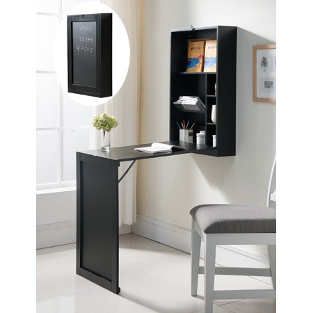 Renata Wall-Mounted Fold-Out Convertible Workstation Desk, Black Wood, With Chalkboard & Shelves, Contemporary