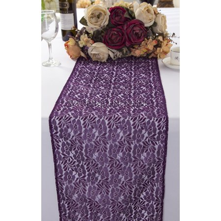 Wedding Linens Inc. Wholesale 12 in x 108 in Floral Raschel Lace Table Runner Wedding Table Runner for Wedding Décor Events Banquet Party Supplies - Eggplant - Wholesale Table Runners