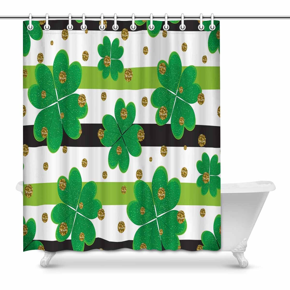 Pop Clover Leaves Gold Circles Striped Shower Curtain 60x72 Inch