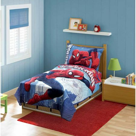 marvel spider man 4 piece toddler bedding set
