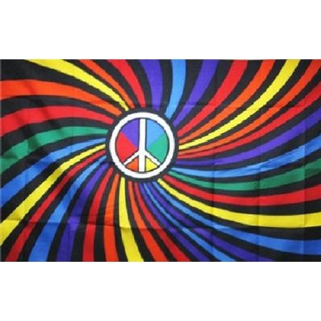 Rainbow Flag Peace Sign Symbol Swirl Gay Pride Banner Festival 3x5