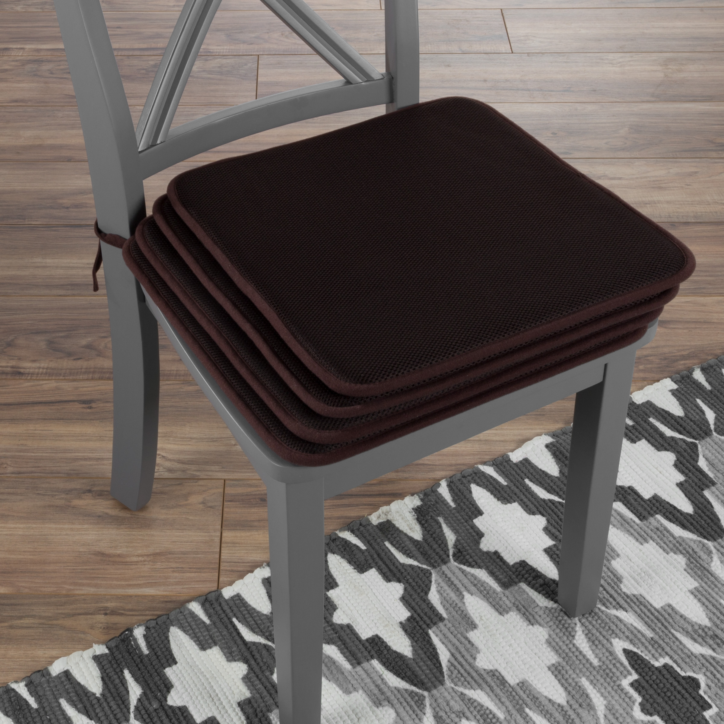 "Chair Cushions-Set of 4 Square Foam 16""x 16"" Chair Pads with Ties for Kitchen, Dining Room, Patio, Tailgating-Machine Washable by Lavish Home (Brown)"