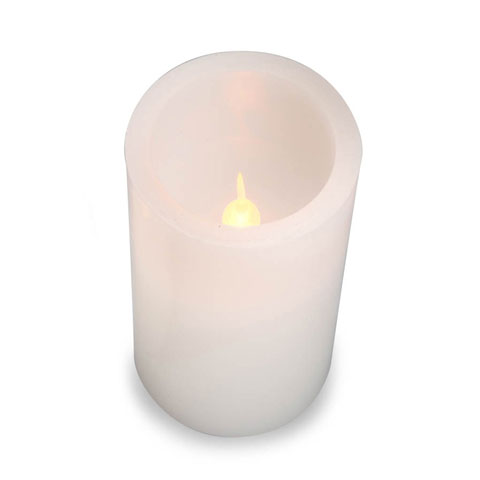 LED Pillar Candle: White, Color Changing, 4 inches
