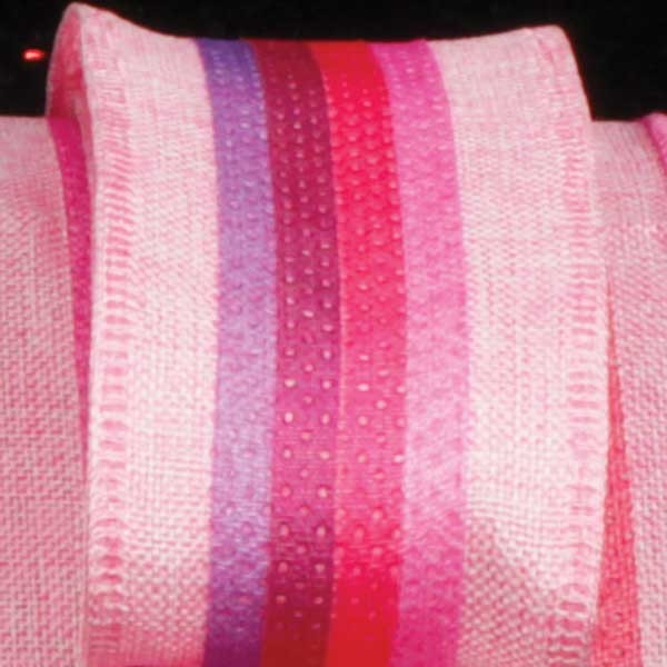 "Colorful Striped Surprise Pink Wired Burlap Craft Ribbon 1.5"" x 40 Yards"
