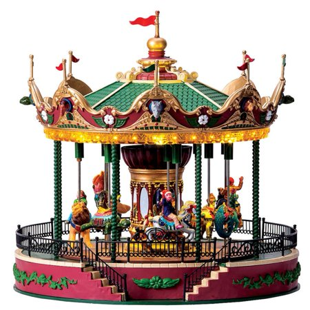 Lemax Carnival Village Jungle Carousel with 4.5V Adaptor # 64155 - Lemax Halloween Village Clearance
