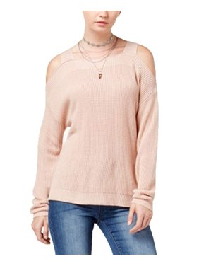 62d6d335a3e4c8 Product Image Hooked Up by Iot Juniors' Knit Cold-Shoulder Sweater Pink  Dust XL