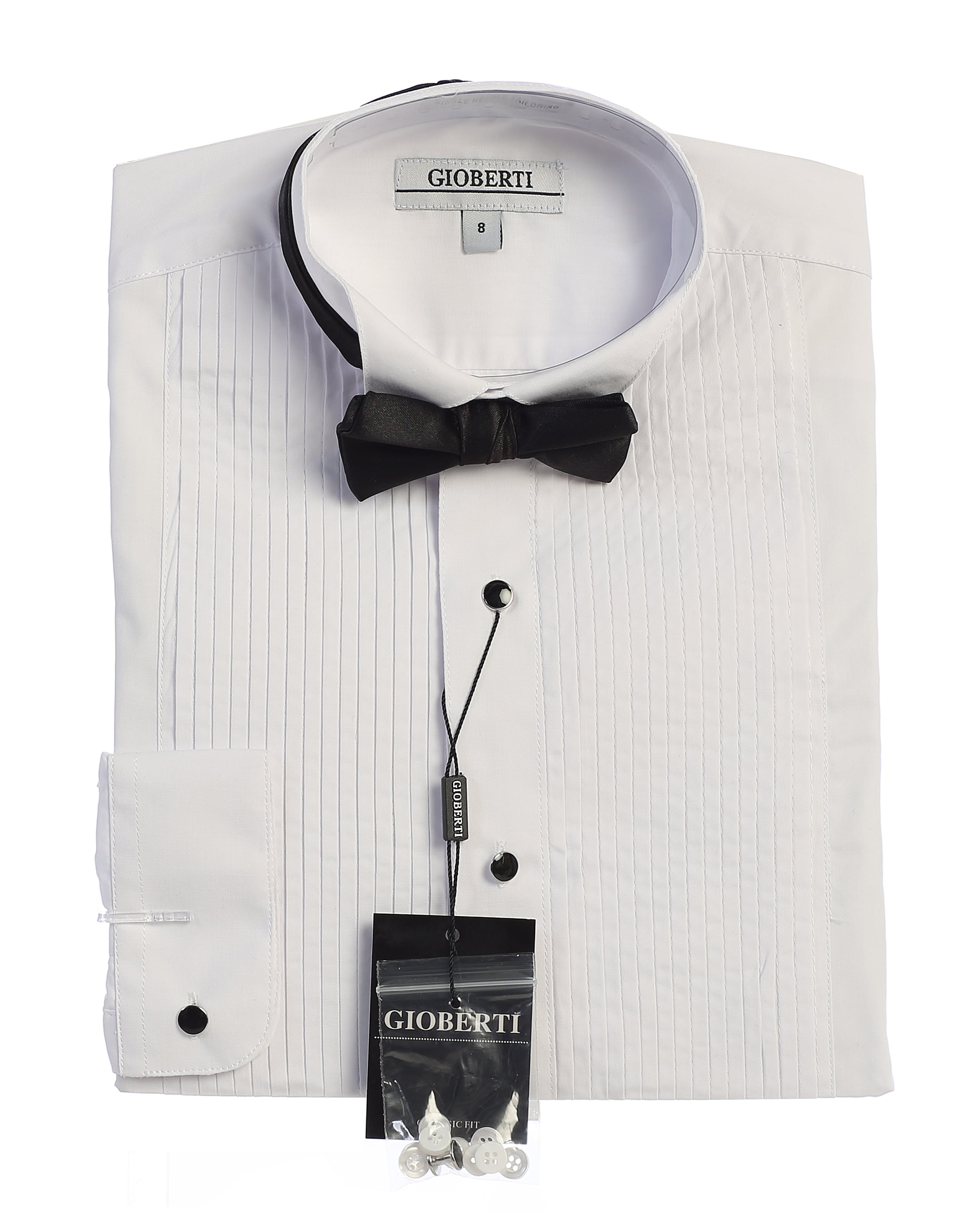 White Tuxedo Shirt Wing Collar Formal Business Dinner Event A Free White Bow Tie