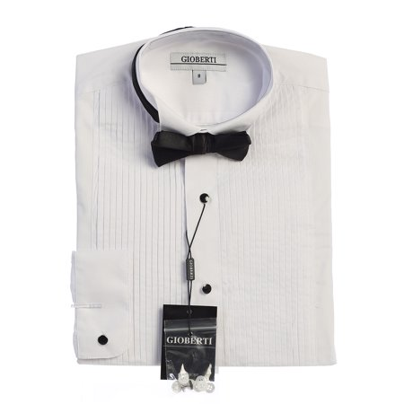 Gioberti Boy's Wing Tip Collar White Tuxedo Dress Shirt with Bow Tie and Metal Studs Tuxedo Shirt Studs