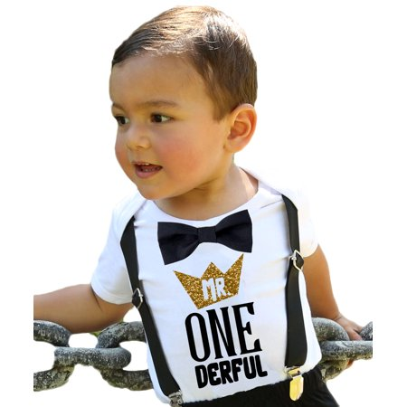 Mr Onederful First Birthday Shirt Outfit Boy With Black Bow Tie Suspenders And Gold