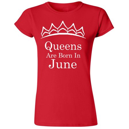 Tiara White Queens Are Born In June T-Shirt Lady Tee Birthday Gift Women Outfit Color Red X-Large