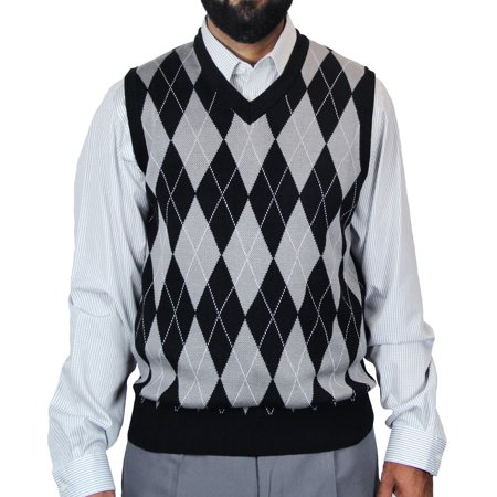 Men's V-neck Jacquard Casual Argyle Sweater - Men Red Sweater Vest