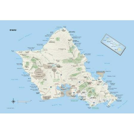 Laminated Poster Hawaii State Map Glossy Poster Oahu City County Honolulu Road Poster Print 24 x (Waikoloa Hawaii Map)