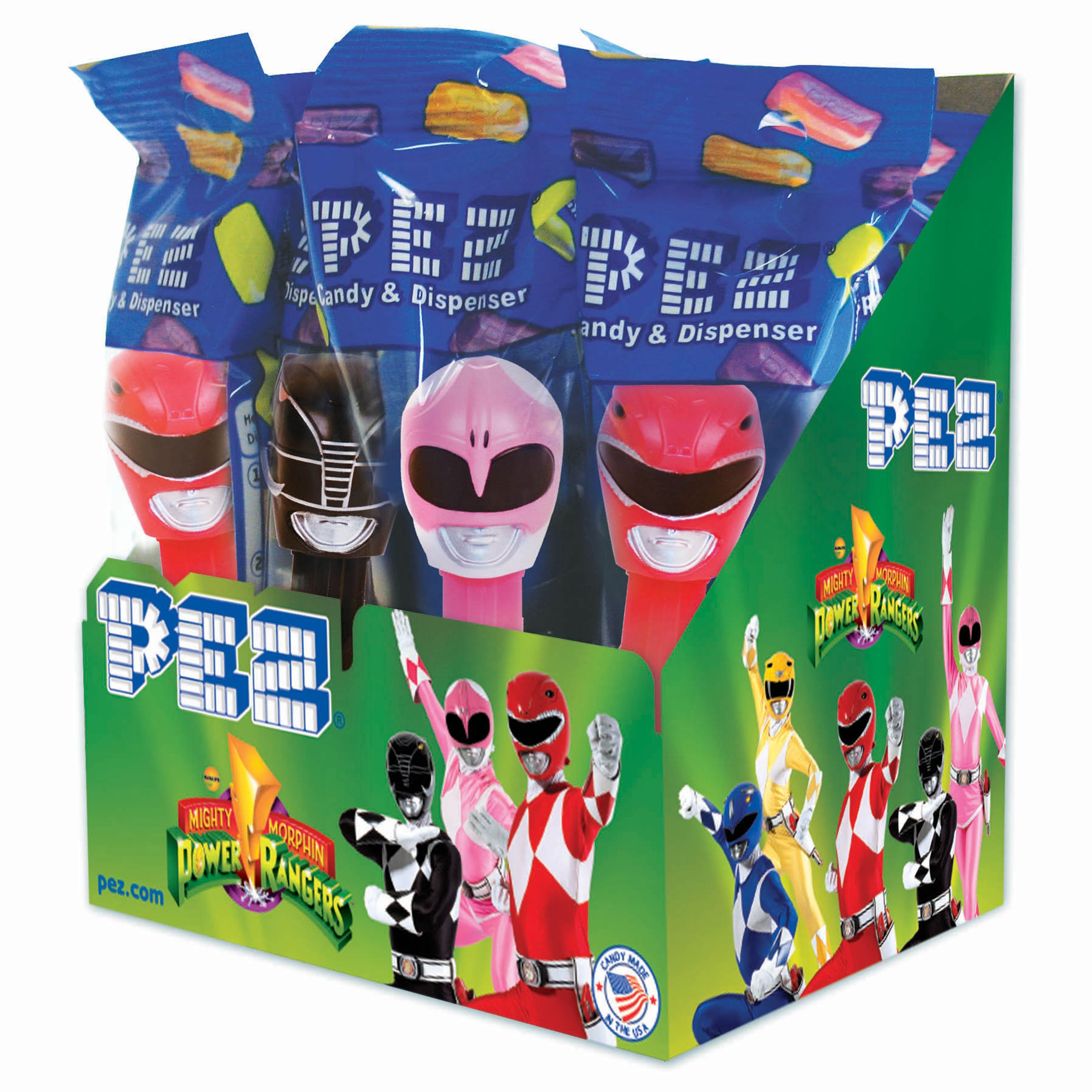 PEZ Candy Power Rangers Assortment, candy dispenser plus 2 rolls of assorted fruit candy, box of 12