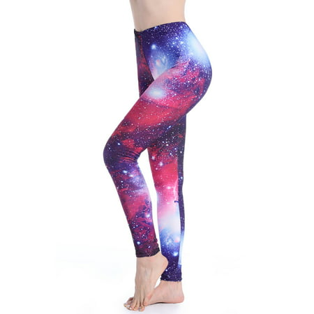SAYFUT Women's Seamless Stretchy Leggings Workout Training Yoga Pants Full Length Galaxy Star Printed Knit Casual Trousers