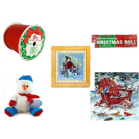 "Christmas Fun Gift Bundle [5 Piece] - Wrights Indoor/Outdoor Red Ribbon 2-3/4"" x 8' ..."