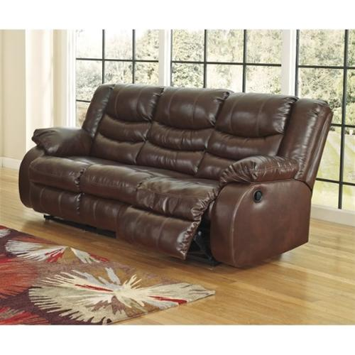 Ashley Linebacker Leather Reclining Sofa in Espresso
