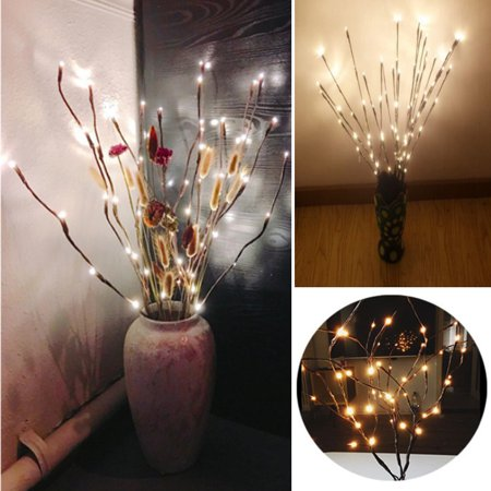 Lightshare 30Inch 5pcs Natural Birch Berry Branch Light, Warm White Light,Battery Powered for Home Decoration