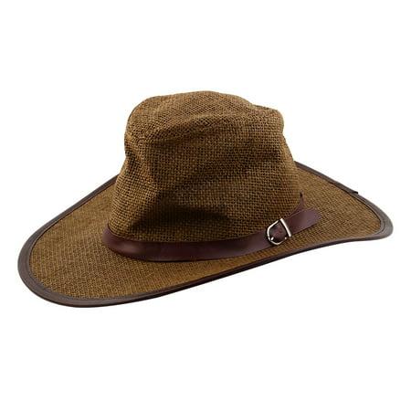 Summer Straw Braided Faux Leather Band Decor Western Sunhat Cowboy Hat (Western Cowboy Decor)