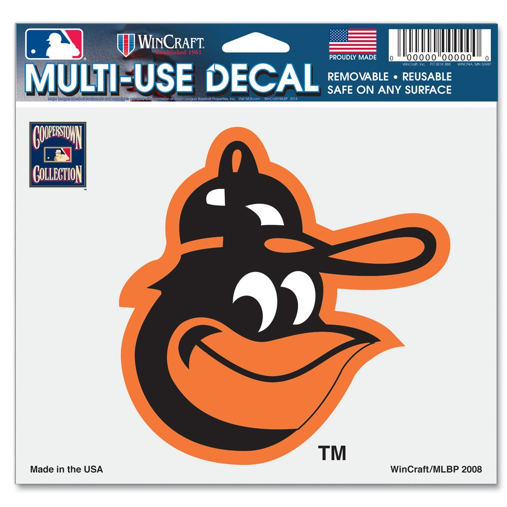 Baltimore Orioles Official MLB 4 inch x 6 inch  Car Window Cling Decal by Wincraft