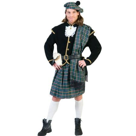 Green Scottish Clansman Men's Adult Halloween Costume, One Size, L (44-46) (Scottish Lass Costume)