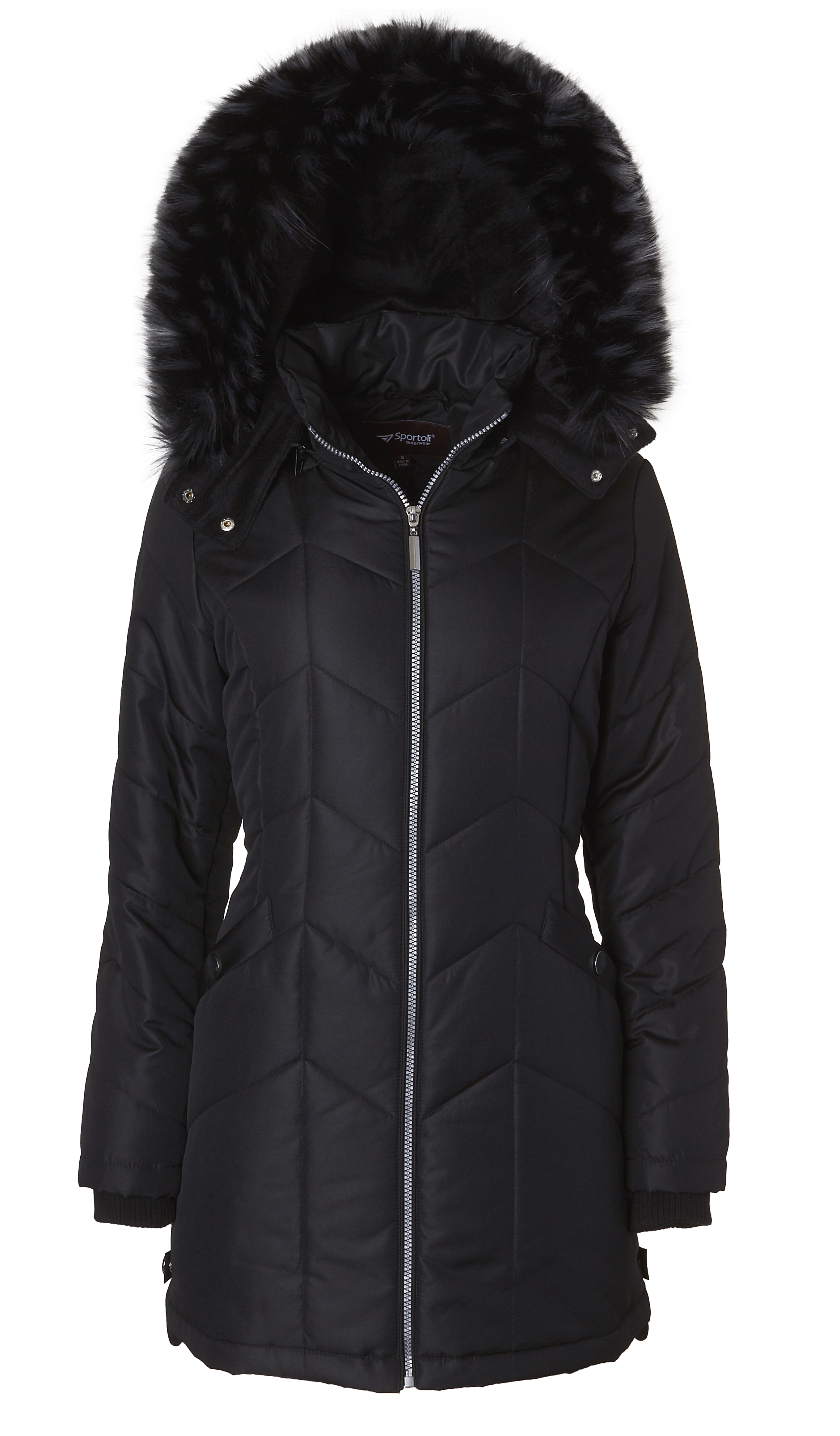 Womens Down Alternative Long Belted Puffer Coat with Fur Trim Detachable Hood
