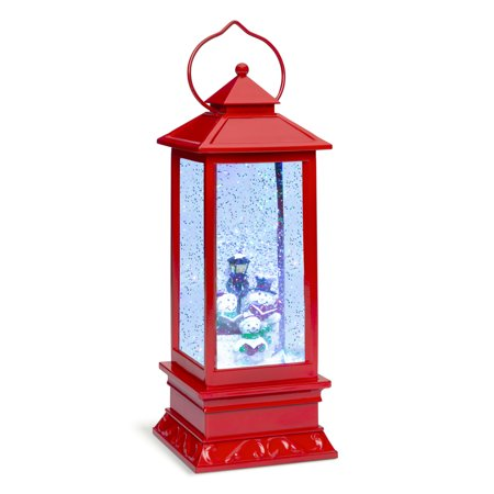 Glitter Globes (Best Choice Products Pre-Lit Battery Operated Glitter Snow Globe Christmas Lantern Holiday Decoration w/)