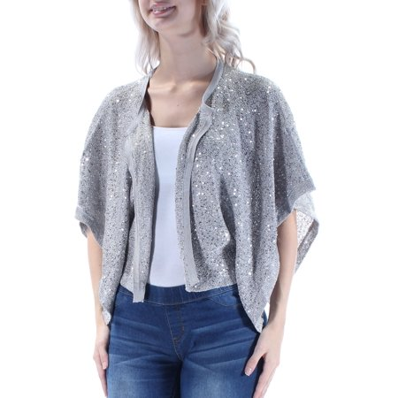ALFANI Womens Silver Sequined  Mesh Dolman Sleeve Open Top  Size: S
