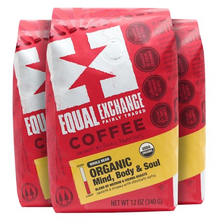Equal Exchange Organic Coffee (Equal Exchange Organic Mind Body Soul Whole Bean Coffee, 36 Ounce (Pack of 3 x 12oz Bags) )