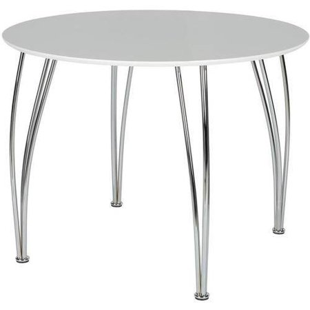 Novogratz Round Dining Table with Chrome Plated Legs, - Round Leg Dining Table